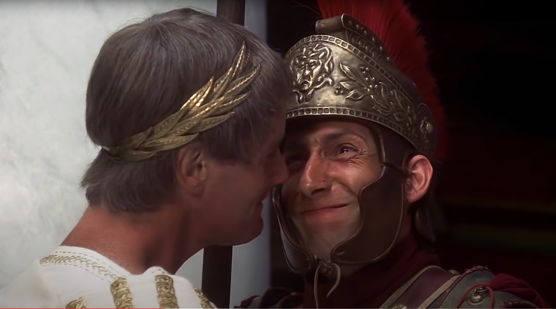 A scene with the roman soldier laughing at the Consul in the famous Biggus Dickus Scene